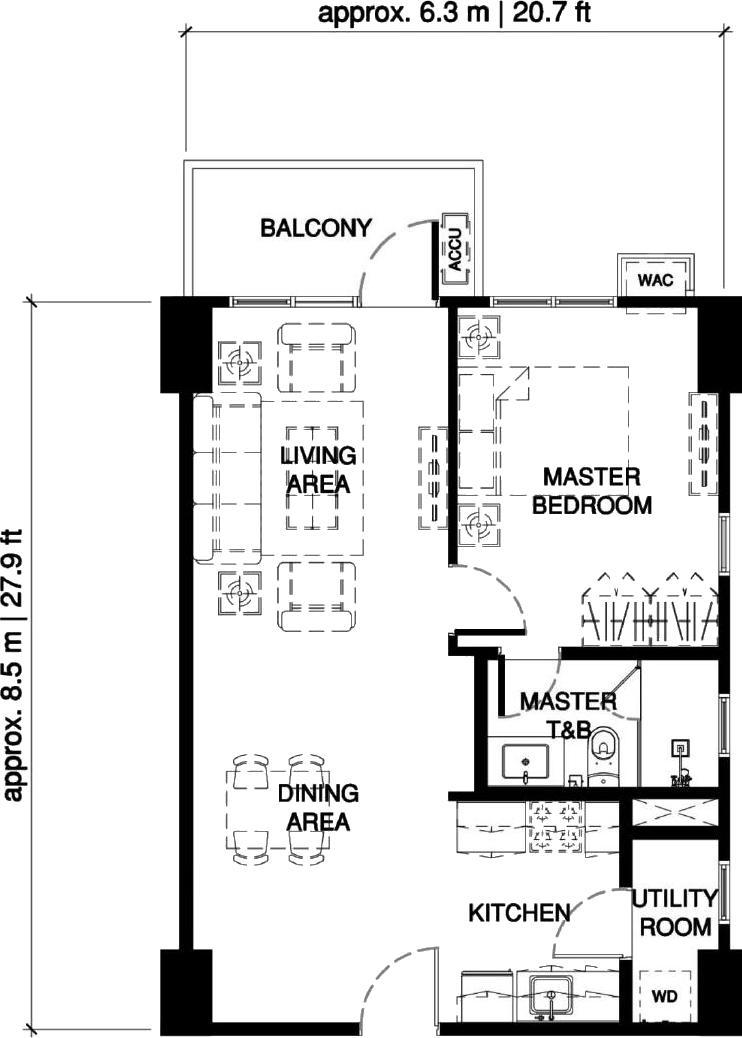 1-Bedroom Unit Floor Plan